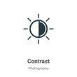 Contrast glyph icon vector on white background. Flat vector contrast icon symbol sign from modern photography collection for mobile concept and web apps design.