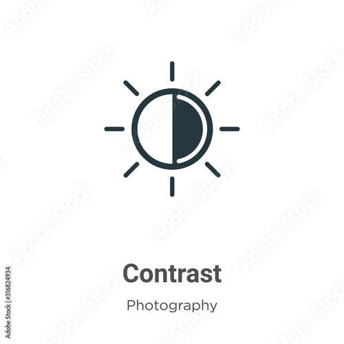 Fotografía  Contrast glyph icon vector on white background