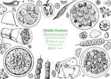 Middle Eastern Food Top View F...