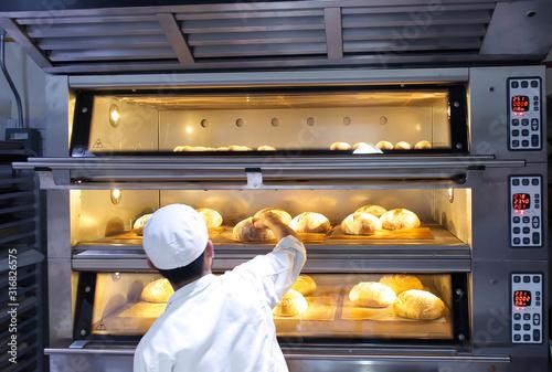 Fototapeta Baker putting baked artisan bread obraz