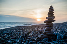 Stack Of Stones On The Beach