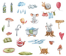 Watercolor Hand Painted Illustration With Cute Cartoon Grey Mice, Snail, Mushroom, Stump, Clouds, Bath, Teapot, Bird, Cup, Heart. Cartoon Fantasy Illustration On White Isolated Background