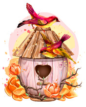 Birdhouse With Flowers And Birds. Wall Sticker. Artistic, Color, Hand-drawn Image Of A Birdhouse With Birds And Flowers In Watercolor Style On A White Background.