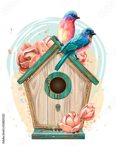 Carta da parati Birdhouse with flowers and birds