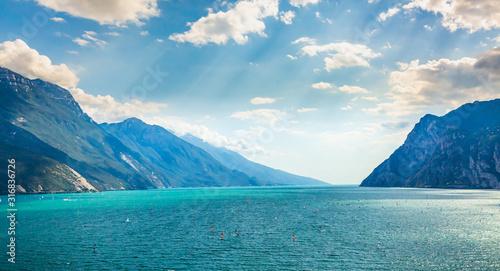 Fotografía Aerial view with mountains at lake Garda, Italy