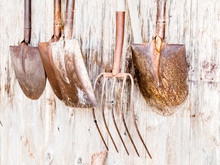 Old Shovels In A Japanese Street