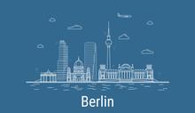 Berlin City, Line Art Vector I...
