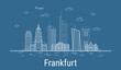 Frankfurt city, Line Art Vector illustration with all famous buildings. Linear Banner with Showplace. Composition of Modern cityscape. Frankfurt buildings set.