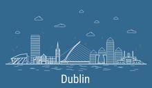 Dublin City, Line Art Vector I...