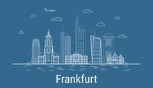 Frankfurt City, Line Art Vecto...