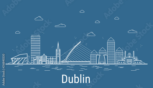 Dublin city, Line Art Vector illustration with all famous towers Wallpaper Mural
