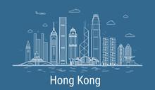 Hong Kong City Line Art Vector...