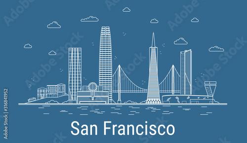 Fototapeta San Francisco  miasto-san-francisco-ilustracja-wektorowa-sztuki-linii-ze-wszystkimi-slynnymi-wiezami-baner-liniowy-z