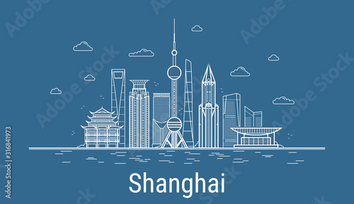 Canvas Print Vector Shanghai City