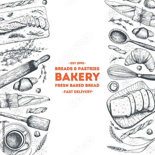 Bakery background. Bakery top view frame. Hand drawn sketch with bread, pastry, sweet. Bakery set vector illustration. Background design template . Engraved food image. Black and white package design. Fototapete