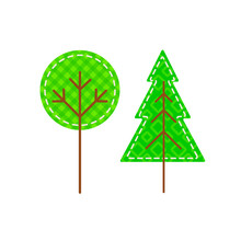 Simple Icons Of Forest Trees Isolated On White Background. Flat Patch Stylized Plants. Concept For Childish Or Eco Logo Or Design. Vector 10 EPS Illustration.