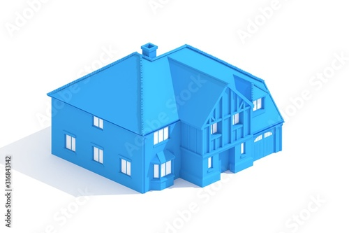 Photo  Blueprint 3d model archtecture rendered on white background