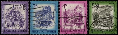 AUSTRIA - CIRCA 1973, 1974, 1982: set of Austrian stamps printed by Austrian Rep Canvas Print