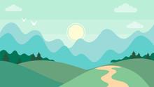 Cute Cartoon Horizontal Mountain Landscape. Beatiful Nature Concept. Flat Style. Vector Illustration