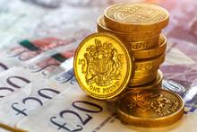 British Coins Stack On Black, ...