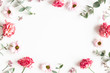 Leinwanddruck Bild - Flowers composition. Frame made of pink flowers and eucalyptus branches on white background. Valentines day, mothers day, womens day concept. Flat lay, top view