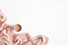 Cup Of Coffee, Pink Blanket On White Background. Flat Lay, Top View, Copy Space