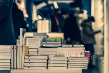 Pile Of Books, Abstract Blurre...