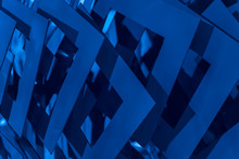 Abstract Blue Background With Metal Squares, For Backdrop