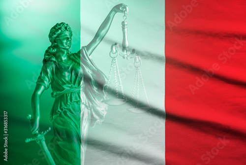Fototapeta National flag of Italy with statue of Justice obraz