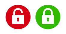 Padlock Lock And Unlock Icon On Green And Red Flat Button