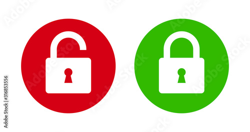 Photo Padlock lock and unlock icon on green and red flat button