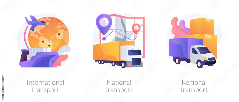 Fototapeta Worldwide order delivery service. Cargo plane and truck shipment. International transport, national transport, regional transport metaphors. Vector isolated concept metaphor illustrations.