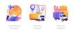 Worldwide order delivery service. Cargo plane and truck shipment. International transport, national transport, regional transport metaphors. Vector isolated concept metaphor illustrations.