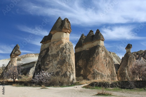 Cappadocia's Famous Fairy Chimneys: The landscape of carved-out towering rock formations in Anatolia, Turkey