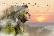 Portrait Collage Of A Young Girl Surrounded By Nature. Environmental Conservation Concept.