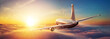 Leinwandbild Motiv Passengers commercial airplane flying above clouds