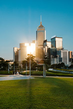 Public Park With Skyline Background, Hong Kong -