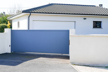 Automatic Sliding Grey Gate Modern House