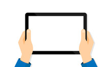 Tablet Computer In Hands On A White Background. Tablet Blank Screen. Vector EPS 10