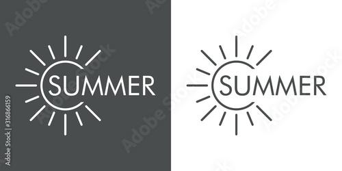 Concepto de vacaciones y viajes. Logotipo lineal sol con texto SUMMER en fondo gris y fondo blanco