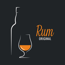 Rum Bottle With Rum Glass Logo...