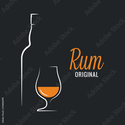 Rum bottle with rum glass logo on black background Canvas Print