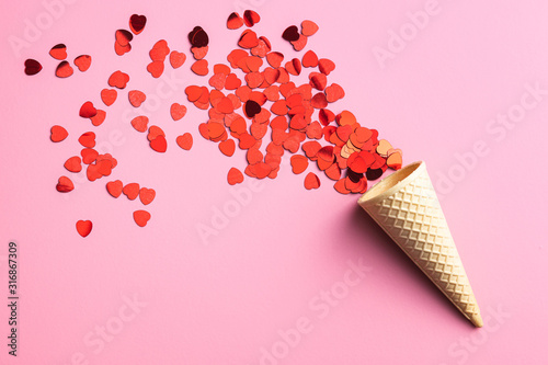 Fototapeta Red hearts and ice cream cone obraz