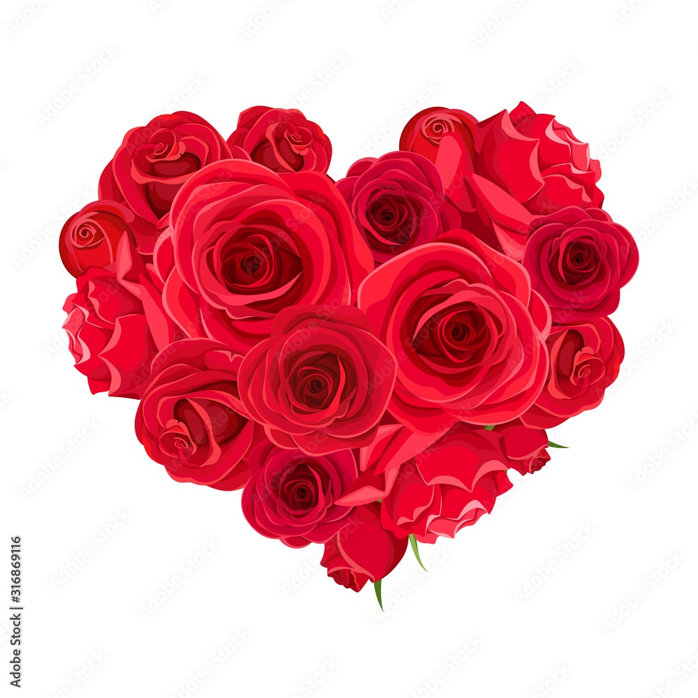 Fototapeta Vector Valentine's day heart of red roses isolated on a white background.