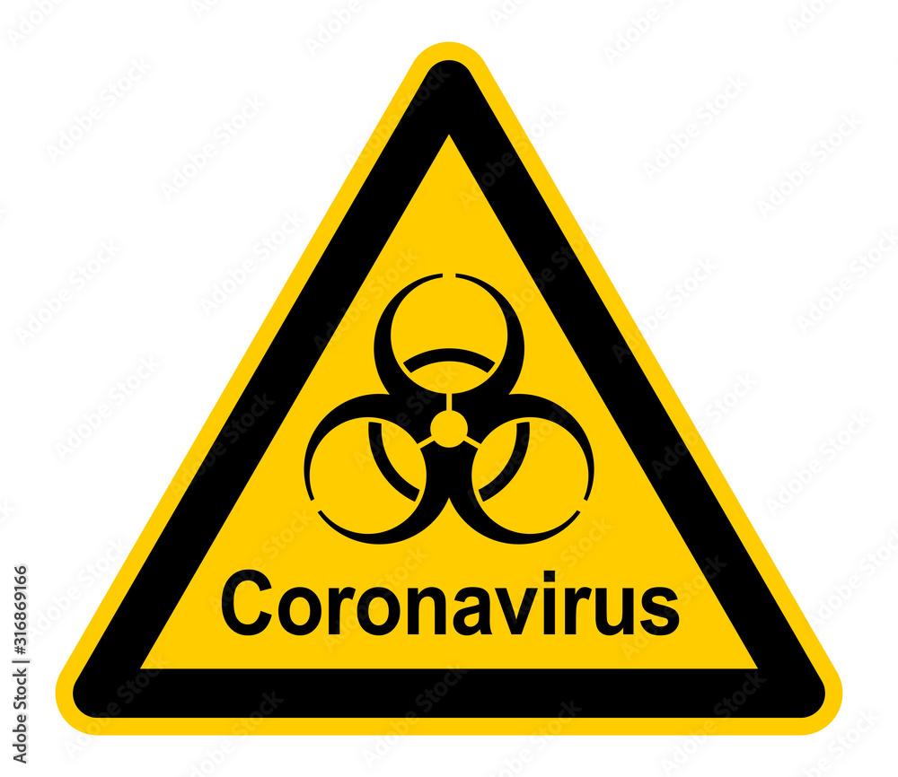 Fototapeta wso455 WarnSchildOrange - Warnzeichen - german text - Coronavirus. - Warnung vor Infektionsgefahr - english - infection risk / virus infection / corona virus. - xxl g8956
