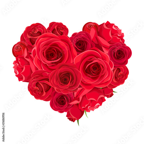 Vector Valentine's day heart of red roses isolated on a white background. #316869116