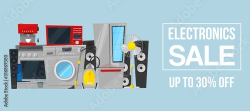 Fotomural Kitchen equipment electronics appliances and digital products sale vector illustration