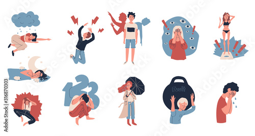 Depression people suffering from stress, vector illustration Fototapete