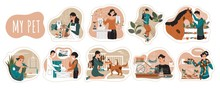 Pet Owners Cartoon Characters, Vector Illustration. Men And Women Spending Time With Animals, People Taking Care Of Dog, Cat, Horse And Bird. Dog Grooming And Pet Shelter Animals.