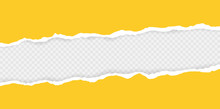 Ripped Squared Horizontal Paper Strips For Text Or Message. Torn Paper Edge. Torn Paper Stripes. Vector Illustration